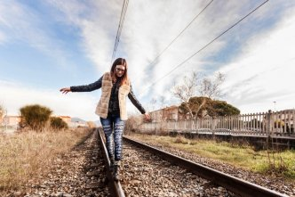 waling on railroad tracks